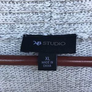 AB Studio Sweaters - Grey Long Open Sweater Cardigan WOMANS XL